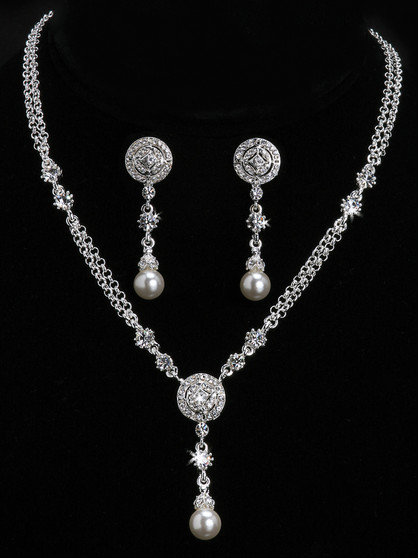 Rhodium plated pearl bead and rhinestone necklace with matching earrings NL902