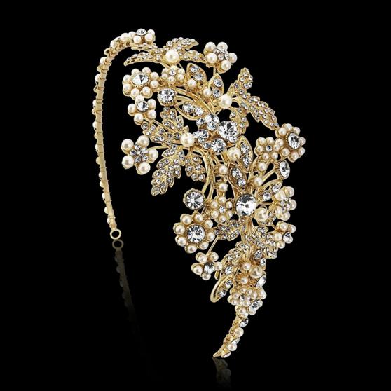 Rosalie Gold - Pearl Enchantment Headband - HDB28 Gold