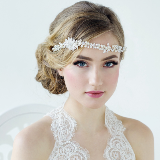 Angelica Luxe Embellished Hair Vine - Ivory