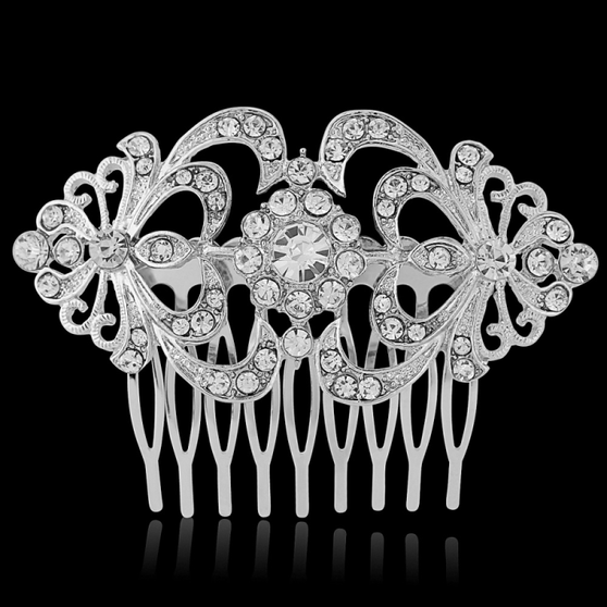 Crystal Hair Comb - Silver