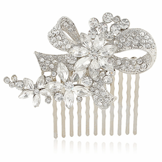 Chic Crystal Hair Comb - Silver