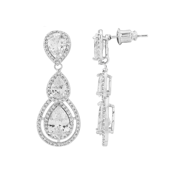 Cubic Zirconia Collection - Crystal Treasure Earrings - Silver