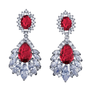 embellished with red sparkly crystals on a silver finish.