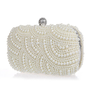 Vintage pearl clutch bag in ivory.