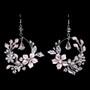 Rhodium plated rhinestone and pearl earrings