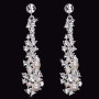Rhodium plated rhinestone and pearl bead earrings E1568