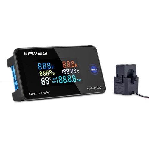 KEWEISI AC 50~300V 10A/100A Digital Electricity Meter Voltmeter Ammeter With CT Power Current Voltage Temperature Measurement