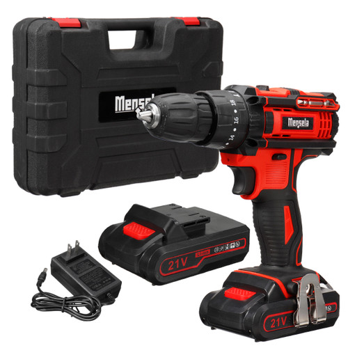 Mensela ED-LX1 21V 3 In 1 Cordless Drill Power Drill Driver Hammer Combo Kit Double Speed with LED lighting 2Pcs 2.0Ah Battery
