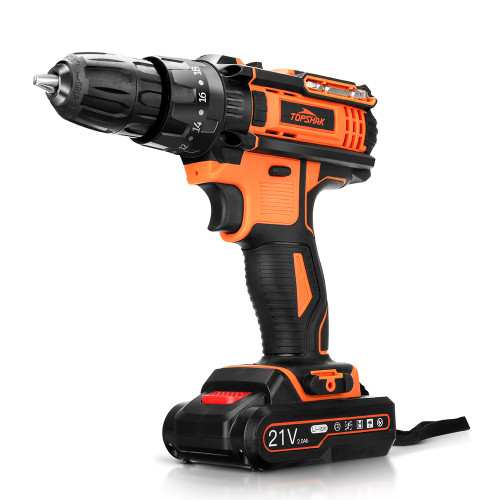 TOPSHAK TS-ED2 21V 2000mAh Cordless Impact Drill  Rechargeable 2 Speeds LED Electric Drill W/ 1/2pcs Battery