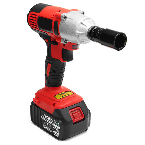 AC 100-240V 12000mah Electric Wrench Lithium-Ion Cordless Impact Wrench 2 Batteries 1 Charger