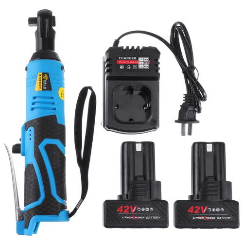 """42V 90N.m 3/8 Cordless Electric Ratchet Wrench Tool 2 x Battery & Charger Kit"""""""