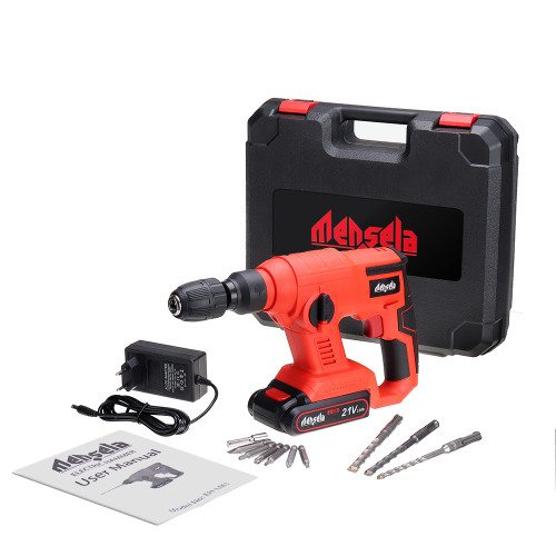 Mensela EH-LM1 100-240V 21V 2.0Ah Electric Impact Drill Hammer Electric Cordless Drill Powerful Speed Concrete Breaker W/ One Battery