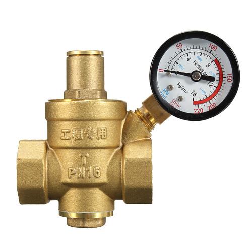 """DN20 NPT 3/4 Adjustable Brass Water Pressure Regulator Reducer with Gauge Meter"""""""