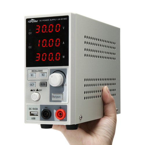 Topshak Professional 220V/110V 0-30V 0-10A 300W Programmable DC Power Supply Display Adjustable Regulated Power Supply