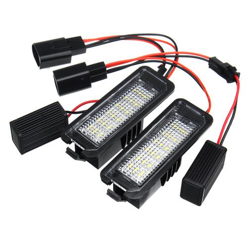 LED License Number Plate Lights Lamp 12V 3W 6000K Pair for VW Golf 4 5 6 7 6R Passat B6