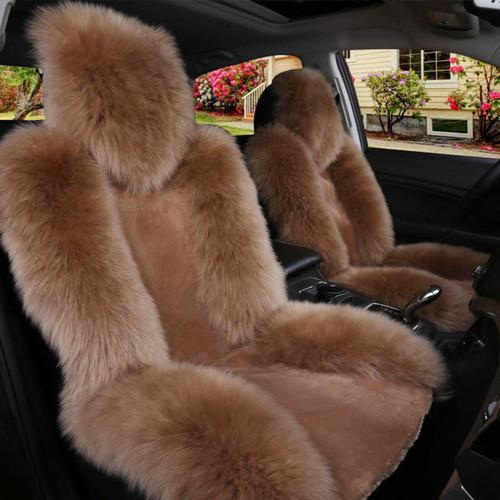 Universal Soft Car Sheepskin Front Seat Cover Cushion Mat Long Wool Fur