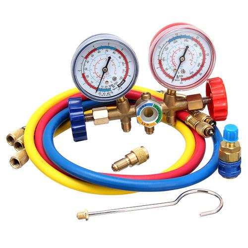 Dual Pressure Gauge A/C Diagnostic Manifold Tester Set HVAC R12 R22 R502 Charging Kit