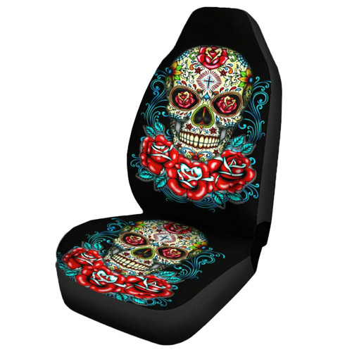 Universal Skull Flower Polyester Car Seat Cover Vehicle Seat Cushion Protector