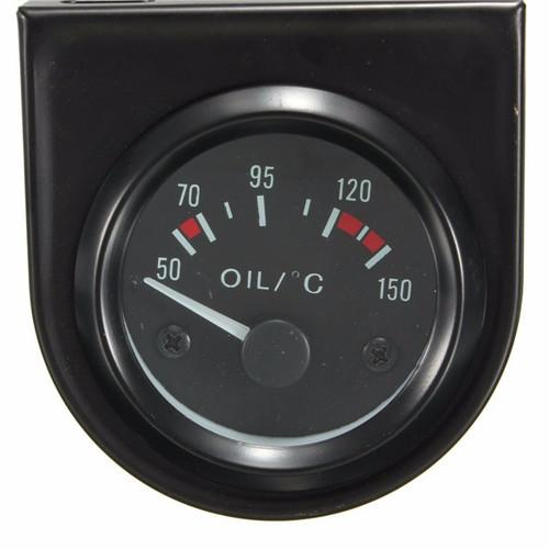 """Universal Car Black Pointer Oil Temperature Temp Gauge 50-150 LED Light 2 52mm Universal Car Black Pointer O"""""""