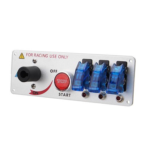 Car Auto Racing LED Toggle Ignition Switch Panel Engine Start Push Btns Set Kit