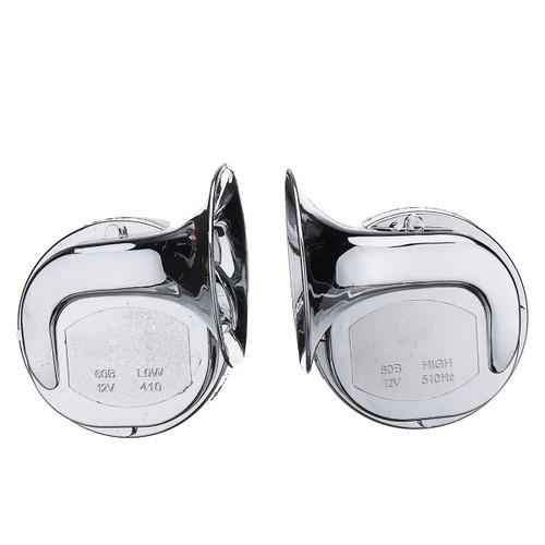Pair 12V 110dB Chrome Dual Tone Air Snail Horn For Car Van Motorcycle Universal