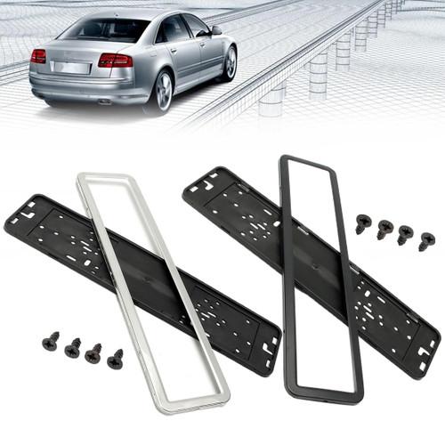 Sliver/Black Car License Plate Frame Holder Stylish Appearance Durable Frame Hinged