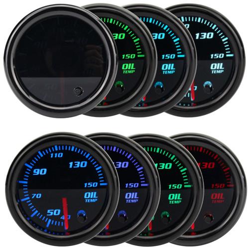 Universal 2'' 52mm 7 Color LED Oil Temp Temperature Gauge Meter & Sensor 12V