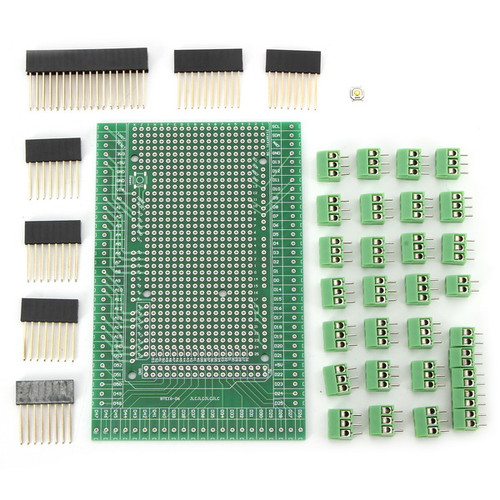 Double-side PCB Prototype Screw Terminal Block Shield Board Kit Mega2560 R3