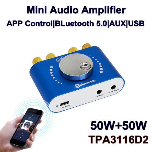 XY-KA50H HIFI TPA3116D2 50W+50W Stereo bluetooth 5.0 +AUX+ U Disk+ USB Power Amplifier Board  Speaker Audio Amplifier Support APP Control DC8-24V