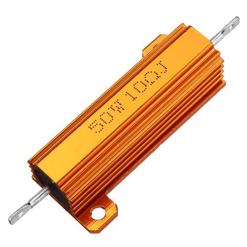 RX24 50W 10R 10RJ Metal Aluminum Case High Power Resistor Golden Metal Shell Case Heatsink Resistance Resistor