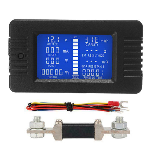 DC Multifunction Battery Monitor Meter 50A/200A/300A LCD Display Digital Current Multimeter Voltmeter Ammeter for Cars RV Solar System
