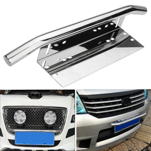 Universal Car Stainless Steel Light Mounting Bracket License Plate Frame Bull Bar Holder Silver