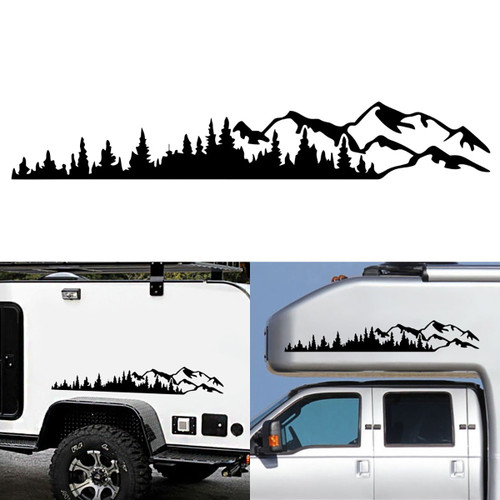 Car Side Body Sticker Decal Mountains For RV SUV Camper Motorhome Van Caravan