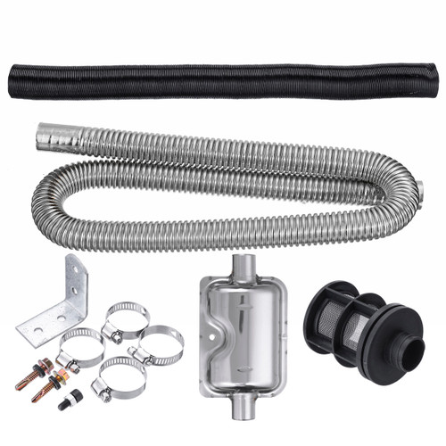 Stainless Exhaust Muffler Silencer Clamps Bracket Gas Vent Hose Portable Pipe Silence For Air Diesel Heater