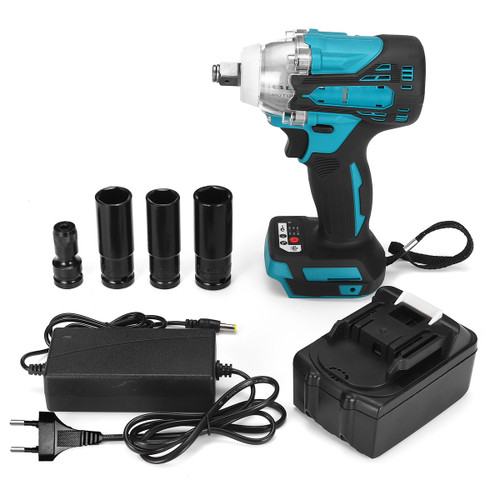 """2 in1 18V 800N.m. Li-Ion Brushless Cordless Electric 1/2 Wrench 1/4"""" Screwdriver Drill"""""""