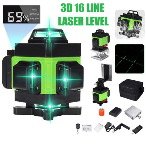 LED Display 3D 360 16 Line Green Light Laser Level Cross Self Leveling Measure Tool
