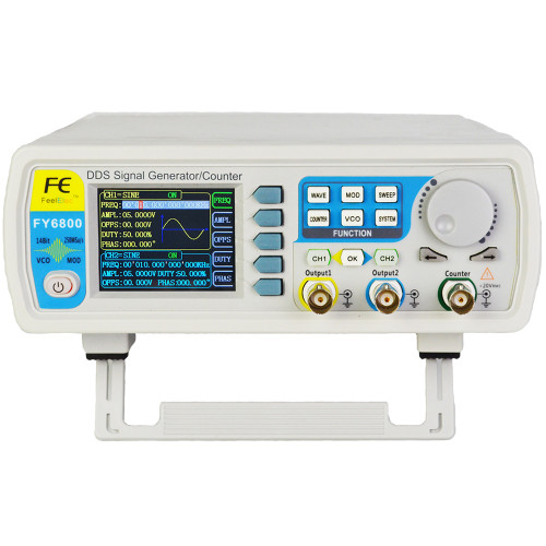 FY6800 2-Channel DDS Arbitrary Waveform Signal Generator 14bits 250MSa/s Sine Square Pulse VCO Meter