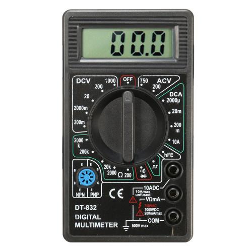 DANIU DT832 Digital LCD Multimeter Ohm Voltage Ampere Meter Buzzer Function with Test Probe