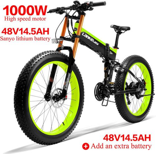 LANKELEISI XT750Plus 26inch Fat Tires 12.8Ah 500W 50Km/h Max Speed 100Km Range Mileage Electric Bike Bicycle 200Kg Max Load EU Plug