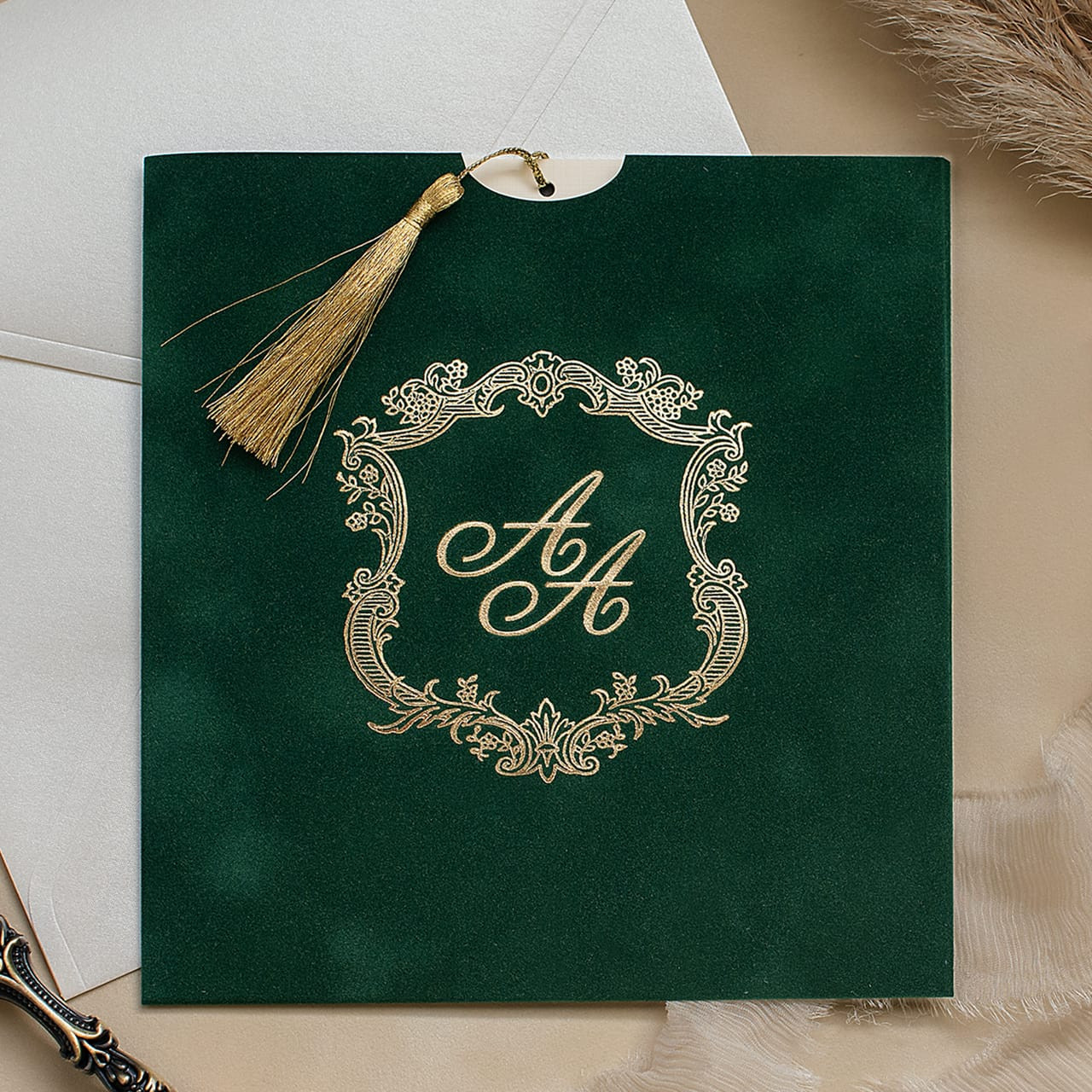 Green Gold Velvet Wedding Invitations Polina Perri Uk