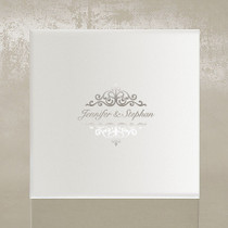 white & silver invitation boxes