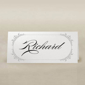 white place cards with grey frame