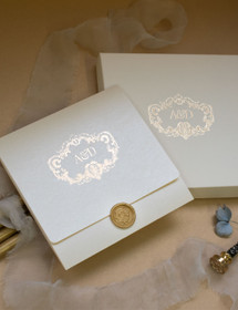 Boxed Venice Ivory & Gold Wedding Invitation