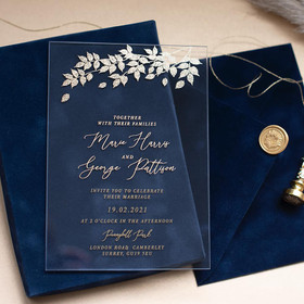 Foliage Navy Blue & Gold