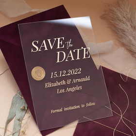Burgundy Velvet & Clear Glass Save the Date Polina Perri