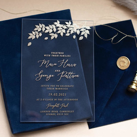 Sample of Foliage Navy Blue & Gold
