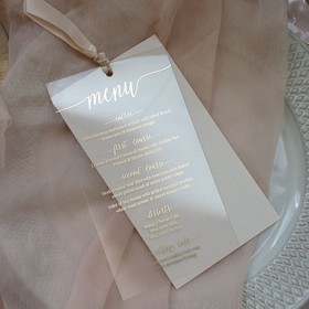 Acrylic Blush Pink & Gold Menu