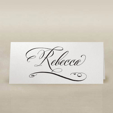 calligraphy place cards white & black ink