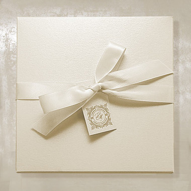 Ivory Invitation Boxes with Ribbon and Tag
