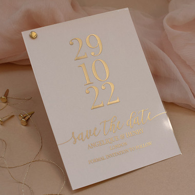 Acrylic Save the Date cards Blush Pink